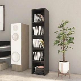 800430 vidaXL Dulap pentru CD-uri, negru extralucios, 21 x 16 x 93,5 cm, PAL
