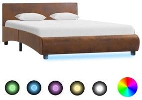 285507 vidaXL Cadru de pat cu LED, maro, 140 x 200 cm, material textil