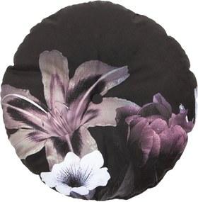 Perna de catifea cu flori ø45 cm Flower - Negru