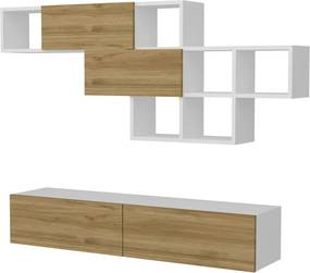 Set comodă TV și raft de perete Furny Home Aristo, alb-natural