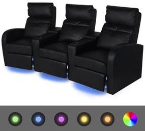 243600 vidaXL Canapea rabatabilă LED cu 3 locuri piele artificială negru