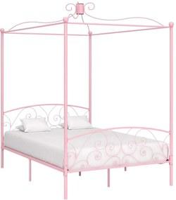 Cadru de pat cu baldachin, roz, 140 x 200 cm, metal