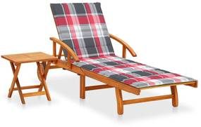 3061630 vidaXL Șezlong de grădină cu masă și pernă, lemn masiv de acacia