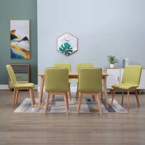 276926 vidaXL Scaune de bucătărie 6 buc, verde, textil & lemn de stejar masiv