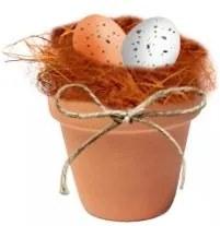 Cuib cu oua decor in ghiveci de teracota