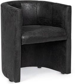 Fotoliu cu tapiterie din piele ecologica gri antracit si cadru din lemn Corfu 62 cm x 58 cm x 74 h x 45 h1 x 70 h2
