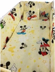 Croitoria Noastra - Lenjerie de patut bebelusi 5 piese cu aparatori laterale pe burete CN Mickey ?™i Minnie Mouse
