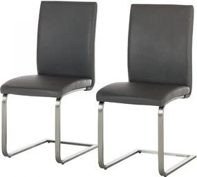 Set de 2 scaune Augusta I din piele naturala/otel inoxidabil, gri, fara brate, 44 x 98 x 58 cm