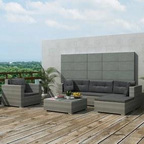 41879 vidaXL Set mobilier de grădină cu perne, 6 piese, gri, poliratan