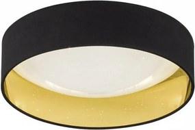 Plafoniera LED Sete I rotunda, material textil/acrilic, negru/auriu, diametru 40 cm, 230 V, 22W