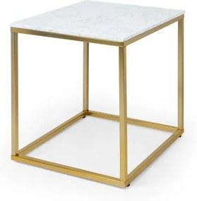 Besoa White Pearl I, măsuță de cafea, 50 x 50 x 50 cm (L x Î x l), marmură, auriu / alb