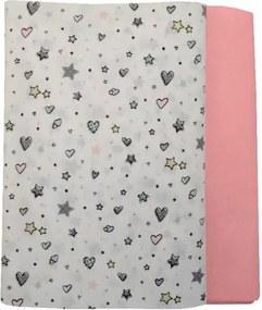 Set cearceafuri Stelute roz cu elastic pentru saltea 60 x 120 cm