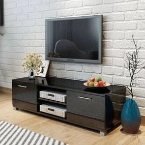 243042 vidaXL Comodă TV, negru extralucios, 120 x 40,3 x 34,7 cm