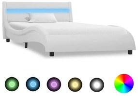 285672 vidaXL Cadru de pat cu LED, alb, 90 x 200 cm, piele ecologică