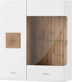 Vitrină cu 2 uși Szynaka Meble Wood, alb