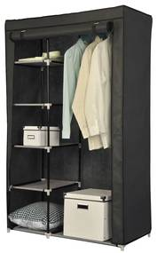 Dulap textil pentru haine, 98x158 cm, Negru