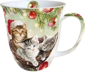 Cana Cats in Basket din ceramica