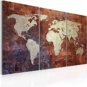Tablou - Rusty map of the World - triptych 60x40 cm