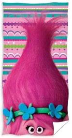 Prosop plajă Trolls pink, 70 x 140 cm