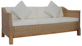 283077 vidaXL Canapea cu 3 locuri cu perne, culoarea naturală, ratan