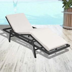 43108 vidaXL Șezlong de plajă cu pernă, negru, poliratan