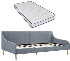 279149 vidaXL Cadru pat de zi cu saltea spumă memorie, gri deschis, textil