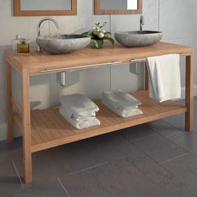 246493 vidaXL Dulap de chiuvetă baie, lemn masiv de tec, 132 x 45 x 75 cm