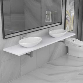 279398 vidaXL Set mobilier de baie din trei piese, alb, ceramică