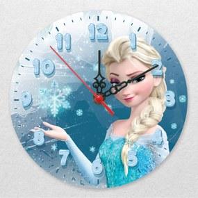 Ceas de perete - Frozen, Elsa pe fond albastru
