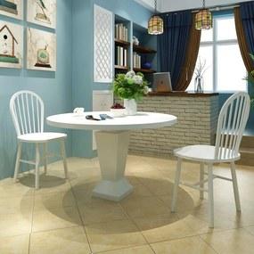 242026 vidaXL Scaune de bucătărie 2 buc., lemn, rotund, alb
