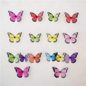Fluturi 3D autocolanți, colorați, 19 buc