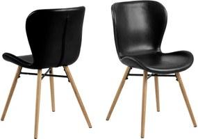 Scaun cu picioare din lemn de stejar Actona Batilda, negru