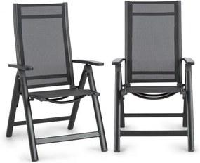 Blumfeldt Cádiz, scaun pliabil, set de 2 bucăți, 59,5 x 107 x 68 cm, ComfortMesh, antracit