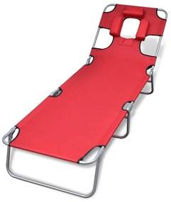 41483 vidaXL Șezlong roșu pliabil pentru plajă, cu tetieră și spătar reglabil