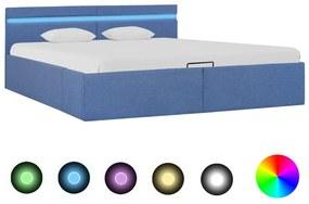 285617 vidaXL Cadru pat hidraulic ladă și LED, albastru, 180 x 200 cm, textil