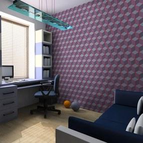 Fototapet Bimago - Cubes With Red Edges + Adeziv gratuit 200x154 cm