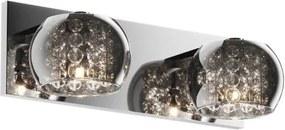 Aplica argintie din sticla si metal cu 2 becuri Crystal Zuma Line