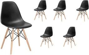 Set 6x Scaune moderne pentru living sau bucatarie Milano, 120kg, negru, 6 bucati
