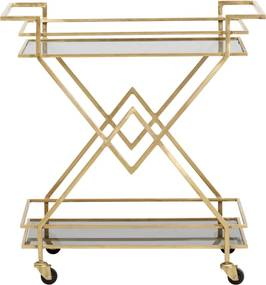 Masuta bar pe rotile din metal si sticla Golden