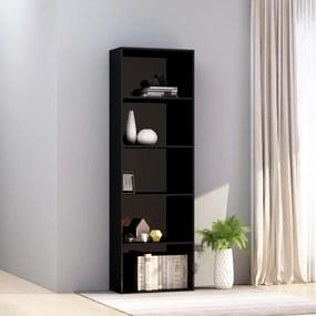 800997 vidaXL Bibliotecă cu 5 rafturi, negru lucios, 60 x 30 x 189 cm, PAL