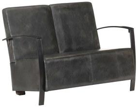 321866 vidaXL Canapea cu 2 locuri, gri uzat, piele naturală