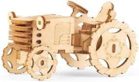 Puzzle din lemn 3D Kikkerland Tractor, tractor