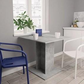 800256 vidaXL Masă de bucătărie, gri beton, 80 x 80 x 75 cm, PAL
