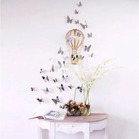 Set autocolante cu efect 3D Ambiance Mirror Butterflies, 12 buc.
