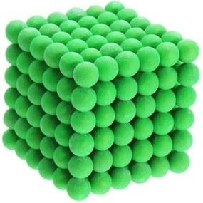 Joc Puzzle Antistres NeoCube cu 216 Bile Magnetice fosforescente, culoare verde, Diametru 5mm