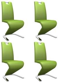 279450 vidaXL Scaune de bucătărie în zigzag, 4 buc., verde, piele ecologică