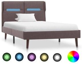 286907 vidaXL Cadru de pat cu LED, gri taupe, 90 x 200 cm, material textil