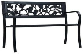 47942 vidaXL Bancă de grădină, negru, 125 cm, oțel