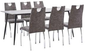 3050997 vidaXL Set mobilier de bucătărie, 7 piese, maro, piele ecologică