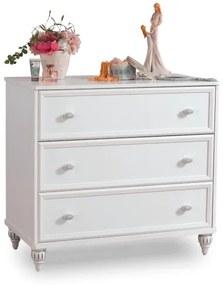 Comoda din pal cu 3 sertare, pentru copii si tineret Romantica White, l90xA50xH84 cm